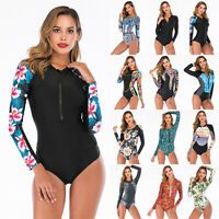 Women's UV Protection Rash Guard Long Sleeve One Piece Swimsuit Surfing Wetsuit