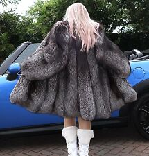 Amazing Silver saga fox fourrure Designer Coat L/XL Unisexe? énorme Sweep!