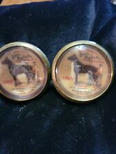BRIDLE Rosette's Dan Patch Race horse feed  adv 2 in brass and glass