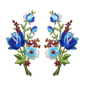 #5093B Lot 2Pcs Blue Rose Flower Embroidery Iron On Appliqué Patch / 1Pair