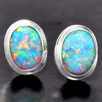 Fire Opal Stud Oval Shape 925 Sterling Silver Earrings Jewelry DGE5062_G