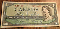 1954 CANADA 1 DOLLAR BANKNOTE - J/Y - Beattie / Rasminsky
