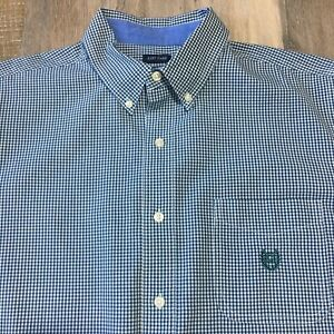 Ralph Lauren Chaps Checked Button-Down Size L Green Easy Care Long Sleeve Shirt