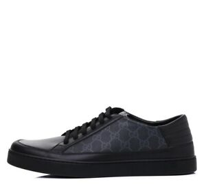 Gucci GG Supreme Monogram Black Leather Low Top Men Sneakers Size US 11