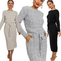 New Women's Cable Knit Long Sleeve Pocket Tie up Ladies Midi Jumper Dress 8-14
