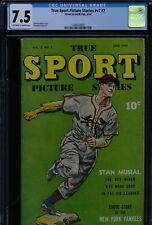 TRUE SPORT PICTURE STORIES V2 #7 - CGC-7.5, OW-W - S&S - Musial - Yankees