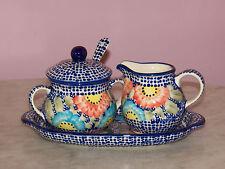 Polish Pottery Cream And Sugar 4 PC Set! UNIKAT Signature Sweet Gypsy Rose!