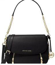 ❤️ Michael Kors Bedford Legacy Leather Flap Black/Gold Shoulder Bag