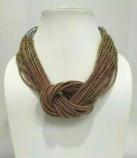 New Costume Boho Chic Silver Gold Bronze Ombre' Knot Tribal Chunky Bead Necklace