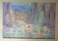 fine old gouache painting design for mural signed Florence Whitmore