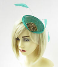 Green Turquoise Bronze Statement Feather Fascinator Pillbox Races Hat Clip 2272
