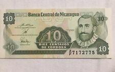 Rare Bank Central De Nicaragua 10 Centavos De Cordoba Money ERROR UNIQUE Pc.