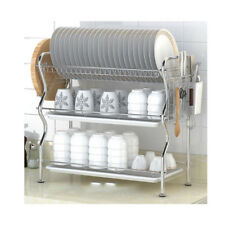 Stainless Steel Dish Rack 3-Tier  Over-the-Sink Kitchen Dish DrainerRack(304)