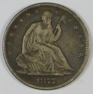 1877 50c Seated Liberty Silver Half Dollar Coin
