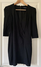 French Connection Black Jersey Wrap Dress With Shoulder Pads Size 10