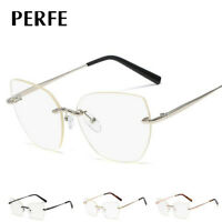 Women Retro Frameless Optical Glasses Clear Lens Fashion Myopia Glasses Frames