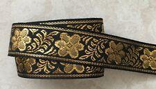 Jacquard Ribbon, 1 inch Black – Gold price for 1 yard
