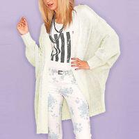 genial Oversized STRICKJACKE Kimono Gr.40/42 L/XL ** CREME WEIß Cardigan Mantel