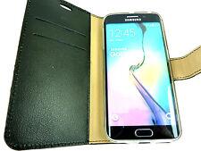 Housse Etui Coque Pochette Portefeuille CUIR VERITABLE Samsung Galaxy S6 Edge