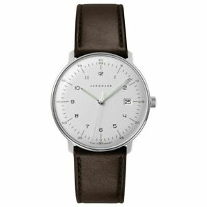 Junghans 041/4461.04 Max Bill 38mm Case Quartz Brown Leather Strap Watch