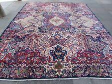 Old Hand Made Traditional Vintage Rug Oriental Wool Blue Large Carpet 376x296cm