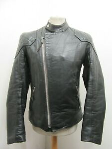 VINTAGE 70's GOLDTOP ?? LEATHER MOTORCYCLE MONZA STYLE JACKET SIZE S CLIX ZIP