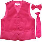 New Boy's Kid's formal Tuxedo Vest Waistcoat necktie  bowtie hot pink 2-14