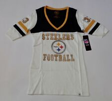 Pittsburg Steelers Ladies Vintage Debut V Neck 47 Brand T-Shirt Women's Small