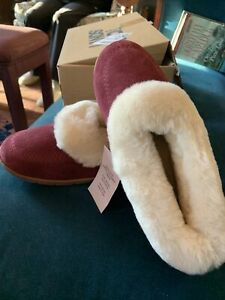 NIB Lands End Womens Suede Genuine Shearling Sheepskin Fur Moccasin Slippers 8