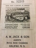 Ætna Insurance Co. Hartford Conn. Royal Bank Chambers Canada Vintage Paper E74