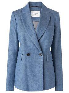 Gorgeous Women's L.K.Bennett Blue Linen Blend ENYA Blazer Jacket UK 16 Worn Once
