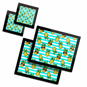 2 Glass placemates & 2 Glass coaster  - Pineapples Stripes Summer  #2597