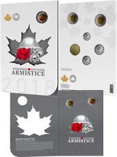 1918-2018 Armistice 6-Coins Set w/ Collector Card Canada: 2x$2 $1 25c 10c 5c....