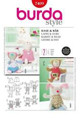 BURDA SEWING PATTERN SOFT TOYS RABBIT & BEAR EASY 7409