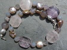 Collier en argent  avec quartz rose, amethystes et perles d'eau douce
