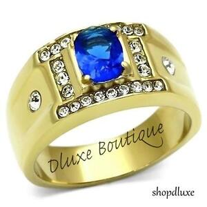 MEN'S OVAL CUT BLUE MONTANA AAA CZ 14K GOLD PLATED STAINLESS STEEL RING SZ 8-13