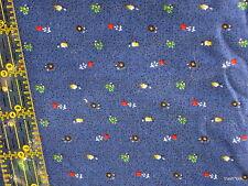 Navy Blue Calico cotton fabric Vtg 80s teensy floral doll dress 1/2 yd BTHY cut