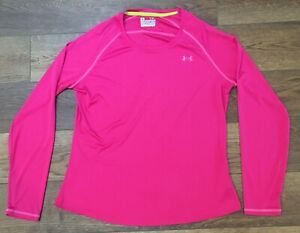 Under Armour hot pink semi-fitted heat gear Catalyst long sleeve top, size XL