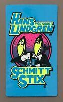 Vtg Schmitt Stix Sticker Decal Hans Lindgren Pro Skate Skateboard NOS 80's NEON