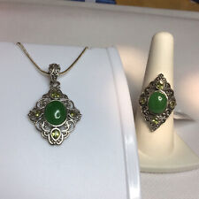 & Pendant Tgw 10.32cts Artisan Crafted Burmese Green Jade & Peridot Ring (Sz8)