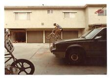 Young Man Jumps Hops BMX Bike Bicycle Over Bar Trick Vtg Color Photo Snapshot 3