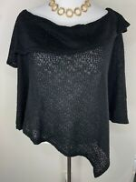NWT Carolyn Strauss Collection QVC 3X Soft Popover Poncho Black Plus Size 3X