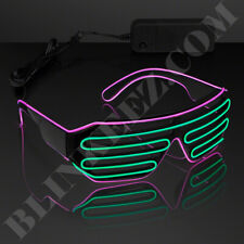 PINK GREEN EL WIRE LED Glasses Light Up Shades Flashing Rave Festival Party Neon