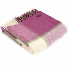 TWEEDMILL KNEE RUG Wool Small Throw Blanket BLOCK CHECK PINK RASPBERRY/GREEN