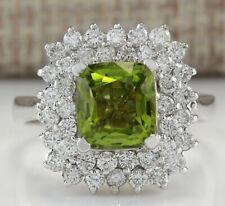 3.55 Carat Natural Peridot 14K White Gold Diamond Ring