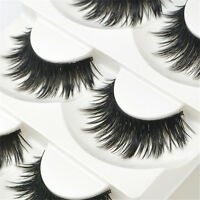 5 Pairs Natural Eye Lashes Makeup Handmade Soft Long Thick Black False Eyelashes