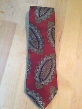 Vintage Christian Dior Red Paisley Patterned 100% Silk Necktie Tie