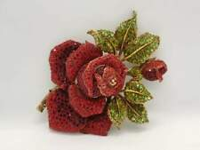 EXTRA LARGE XL RED ROSE FLOWER CRYSTAL ENAMEL METAL BROOCH / PIN - NO BRAND