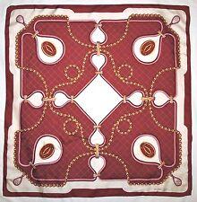 "Authentic MUST DE CARTIER Designer CHAIN Jewelry LOGO Burgundy Silk 33"" Scarf"