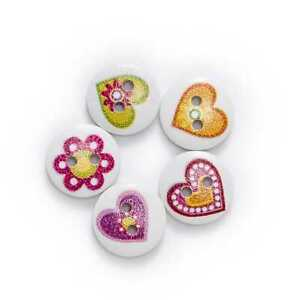 50pcs Heart Theme Printing Wooden Buttons Scrapbook Sewing Handwork Decor 15mm